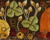 """Wool applique PDF PATTERN pumpkins """"The Far Corner of the Garden"""" autumn fall penny rug table runner wall  hanging rug hooking felted wool"""