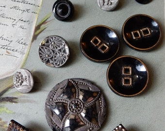 Mixed Lot of 15 Black Glass Buttons w/ Silver & Gold Luster Accents