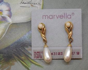 MARVELLA  Pearl Dangle Pierced Earrings