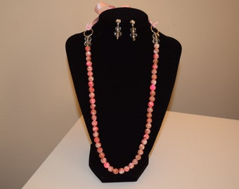 Pink and crystal necklace and earrings set