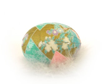 Easter Egg Japanese Washi - Geometric Gold Teal and Pink with Flowers