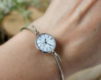 Vintage Style Clock Face Bracelet, Silver Tone Bracelet, Glass Cabochon