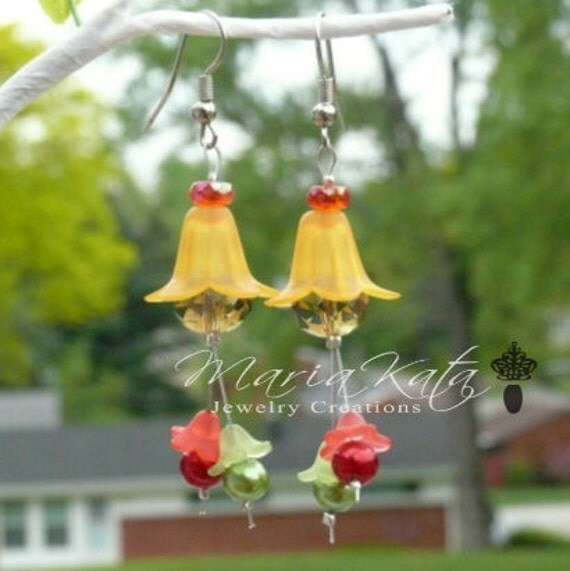 Flower Tops with Iridescent beads Dangle Earrings