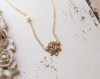 Layered necklace set sterling silver layering necklace set lotus necklace gold lotus flower necklace lotus and freshwater pearl necklace lotus jewelry audiocablefo light catalogue