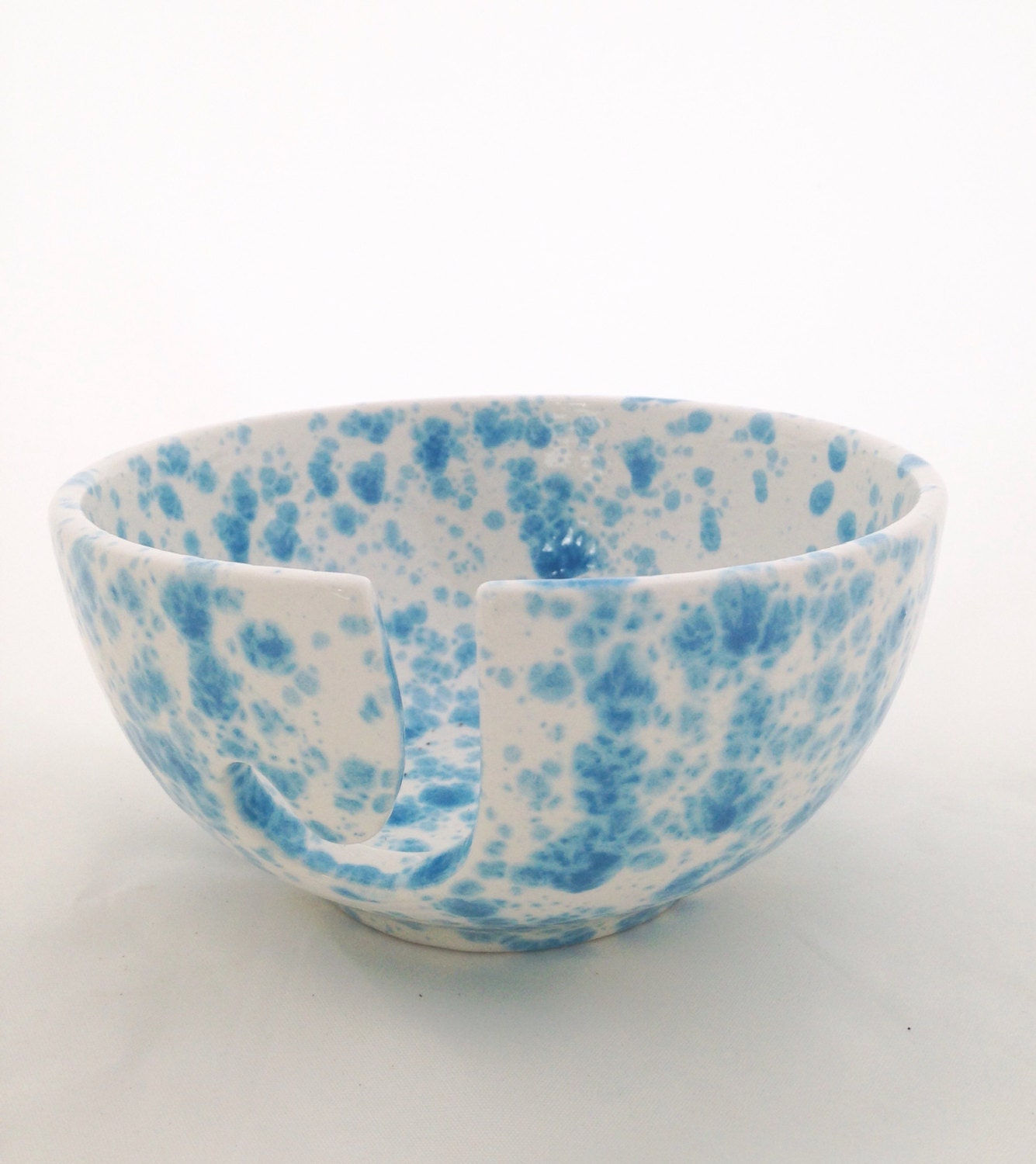 Ceramic Yarn Bowl Hand Painted Pottery Knitting Bowl Blue