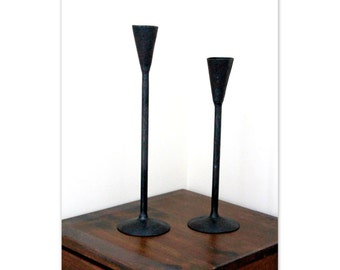 Matching Set of 2 Hand Forged Iron Candlestick Holders With Long Stems and Tapered Cup by VinTin