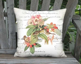 Pillow Cover - Pillow - Pygmy Birds Peach and Coral Flower 16x 18x 20x 22x 24x 26x 28x Inch Birds and French Script Linen Cushion Cover