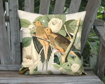 Turtledove Delight Pillow Cover - French Cottage Bird Pillow - 16x 18x 20x 22x 24x 26x 28x Inch Linen Cotton Bird Cushion Cover