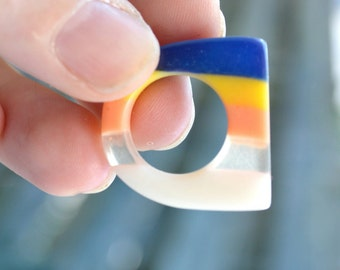 So 80s - Vintage Striped Ring, Plastic Jewelry