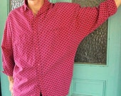 S, M mens shirt, pink paisley with dolman sleeves
