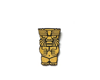 Yellow Tiki Totem Pole Brooch Pin- Style #1