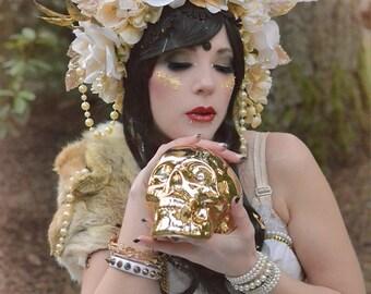 Golden Goddess Floral Maiden headdress  - floral flower fairy crown spiked Headband Headdress Fascintor