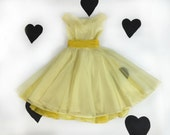"50's 60's yellow prom dress / 1950's 1960's organza bow party dress / full skirt / sweet 16 / fluttery / formal / new look / 25"" waist / XS"