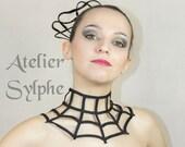 Fantasy collar boned strap criss cross crinoline neck grid necktie in black color zip closure spider web style