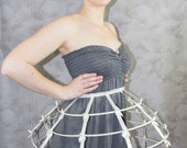 ivory color Crinoline hoop skirt pannier 4 rows elastic waist and satin ribbon cage
