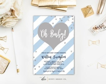 Baby Boy Shower Invitation, Baby Shower Invitation, Baby Shower Invitation Boy, Blue Baby Shower Invite, Baby Shower Invite, Oh Baby Invite
