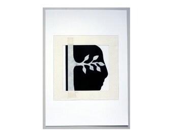 Creative Mind - portrait art print, collage artwork, Inspirational art, black & white print