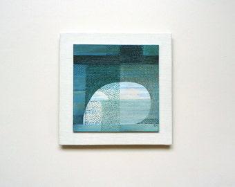 Abstract original painting, blue shelter, mixed media art, zen, peaceful restful