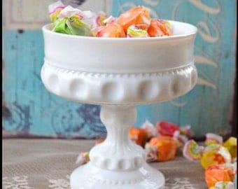 Vintage Milk Glass Pedestal / Milk Glass Candy Dish / Milk Glass Compote / Candy Bar