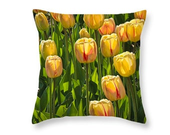 Dutch Tulips on a Throw Pillow Photo taken on Windmill Island in Holland MI No.197 decorative novelty pillow Home Décor cushion cover