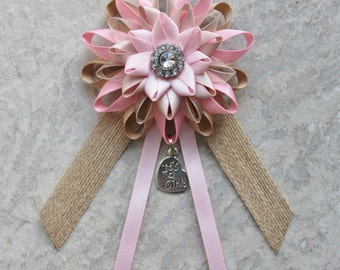 Rustic Baby Shower Decorations, Pink Baby Shower Corsage, Champagne, Burlap, Baby Girl Shower Decor, Its a Girl Pin, Baby Shower Ribbon