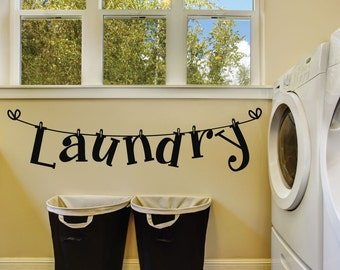 Laundry Room Wall Appliques Beauteous Laundry Room Decals  Etsy Design Ideas