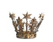 Gold Crown Cake Topper, Medium Santos Crown, Gold Crown, Star Crown, wedding cake topper, crown photography prop