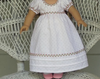 Historical Regency Era Empire in Pink and White-Handmade Will Fit 18 Inch Dolls like American Girl