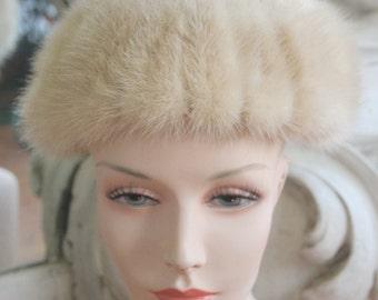 Vintage 1960s 1970s Blond Mink Hat by Mr. Henri