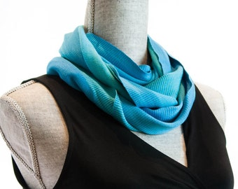 Turquoise Bamboo Infinity Scarf, Organic