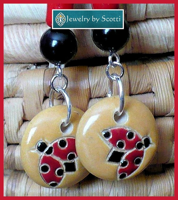 Ladybug Long Dangle Earrings, Hypoallergenic Nickelfree Hooks, Red Ladybug Earrings, Ladybird Charm Earrings, Statement Earrings, For Her