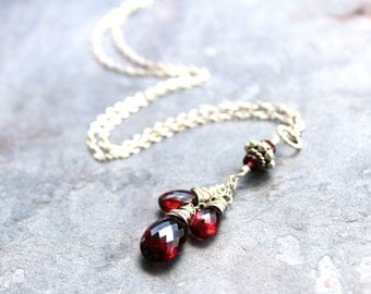 Pendant Garnet Necklace Sterling Silver January Birthstone Trio Red Gemstone Teardrops