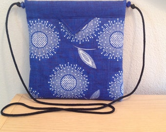 "Blue and White Floral Quilted Fabric Snap Bag Purse Handbag Handmade 8"" X 8"""