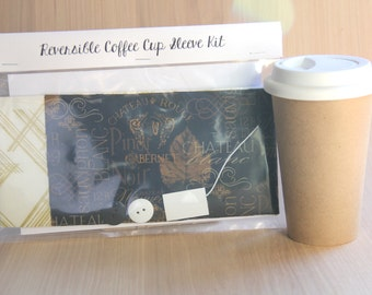 DIY Coffee Cup Sleeve Sewing Kit - Wine Labels and Metallic Gold Crisscrosses - Ready to Ship