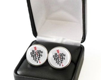 All You Need is Love Cufflink, Anniversary Gift For Him, Anniversary Gift for Husband, Gift For Boyfriend Engagement Gift for Future Husband