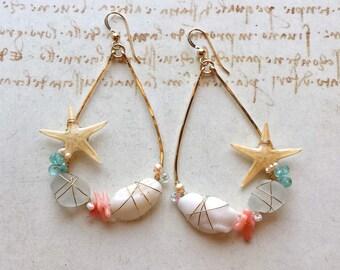 Teardrop Beach Hoops, Starfish Teardrop Hoops, Real Starfish Earrings, Mermaid Hoops Earrings: Ready to Ship