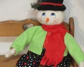 Primitive Whimsical Snowman 20 Inch cloth art doll