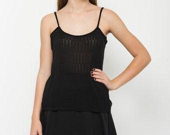 Sleeveless top, Black shirt, knitted top, semi sheer shirt, summer top, black blouse, black knit top, sleeveless casual shirt, strap top