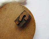 Vintage Letterpress Question Mark Printer Block Punctuation Symbol Wood Block Wooden Letterpress Why Answer Stamp Supplies Media