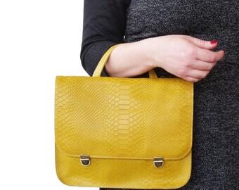 Made to order Mustartd backpack, Leather backpack, Mustard handbag,