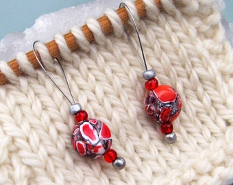 Stitch Markers, Knitting, Mosaic Stone, Snag Free, Red White Black, Jeweled Tool, Knitting Accessory, Supplies, Handmade, Gift for Knitters