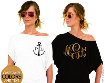 Custom Monogram Shirt - For Brides Bridesmaids Moms and Wives - Perfect Mothers Day Gift - Wedding and Shower Gift Ideas