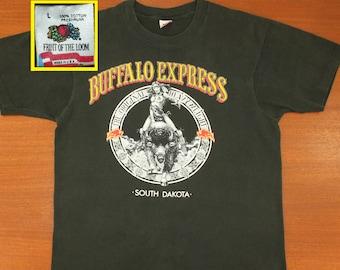 Buffalo Express South Dakota vintage t-shirt L black 90s Fruit of the Loom