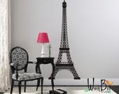 Eiffel Tower Wall Decal Sticker - sillhouette - nursery kids room dorm decor