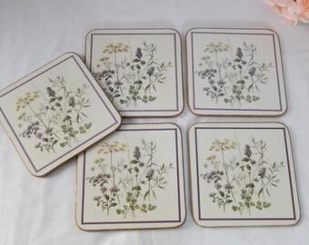 Set of 5~Vintage Botanical Square Coasters~Cottage Chic~Spring Decor