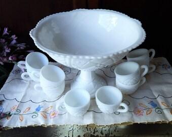 White Wedding~Vintage Cut Milk Glass Punch Bowl Set McKee Glass Piece Set Milk Glass Concord Pattern White Milk Glass Set
