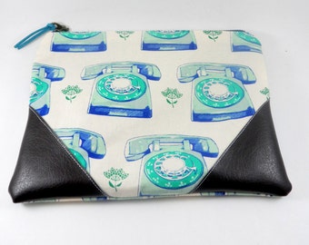 Vintage Telephone and Vegan Leather Corner Zippered Pouch