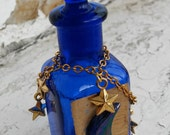 Perfume Bottle Moon and Stars Blue Glass Painted Hanging Charms Empty Repurpose Bottle