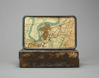 Belt Buckle Chattanooga Tennessee Vintage Map Unique Gift for Men or Women
