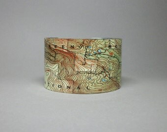 Green Mountain National Forest Vermont Map Cuff Bracelet Unique Hiking Camping Gift for Men or Women